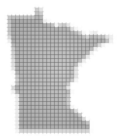 recolor: Minnesota (USA) map pixels mosaic. Easy to recolor. Stock Photo