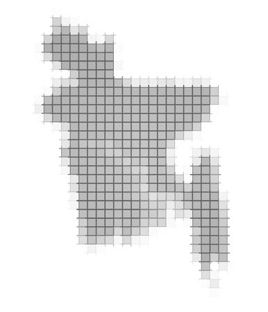 fill: Bangladesh map pixels mosaic. Easy to recolor. Stock Photo