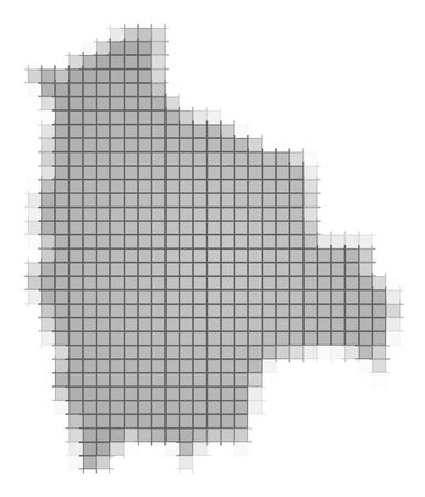 recolor: Bolivia map pixels mosaic. Easy to recolor. Stock Photo