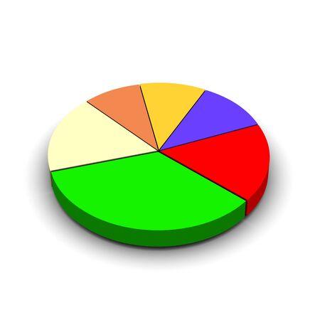 Pie graph 3d rendered illustration Stock Illustration - 3668544