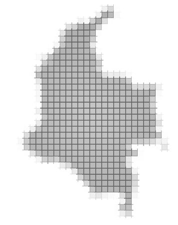 recolor: Colombia map pixels mosaic. Easy to recolor. Stock Photo