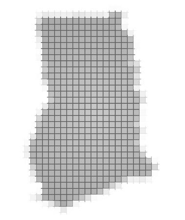 recolor: Ghana map pixels mosaic. Easy to recolor.
