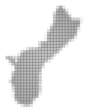 guam: Guam map pixels mosaic. Easy to recolor. Stock Photo