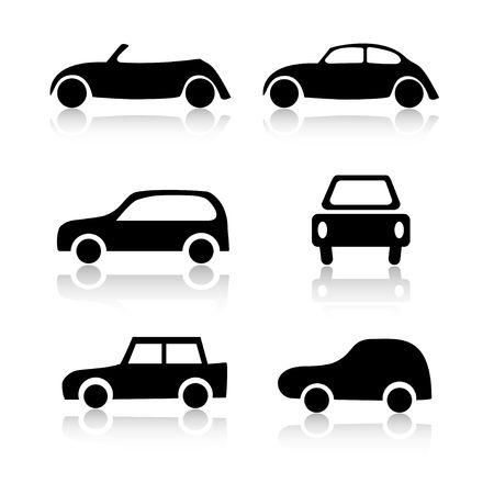 escarabajo: Conjunto de 6 coches icono variaciones Foto de archivo