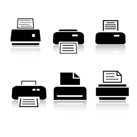 Set of 6 printer icon variations Stock Photo
