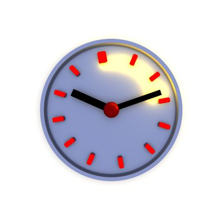 elapsed: Clock with highlighted time interval 3d illustration. Stock Photo