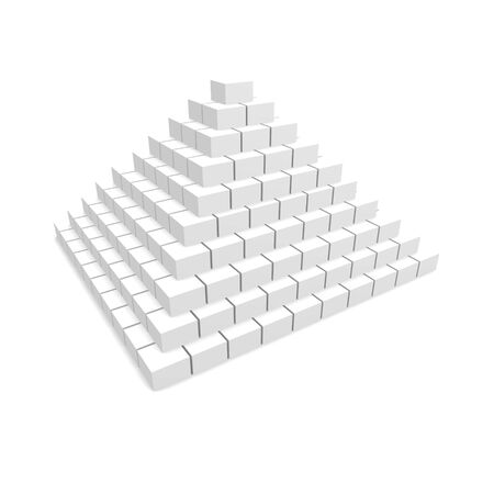 terraced: White blocks pyramid. 3d rendered image. Stock Photo