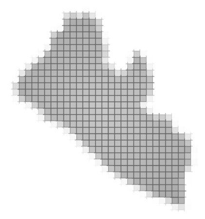 recolor: Liberia map pixels mosaic. Easy to recolor.