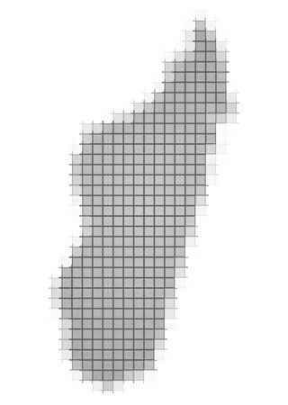 recolor: Madagascar map pixels mosaic. Easy to recolor.