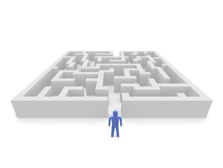Person in front of labyrinth. 3d rendered image. photo