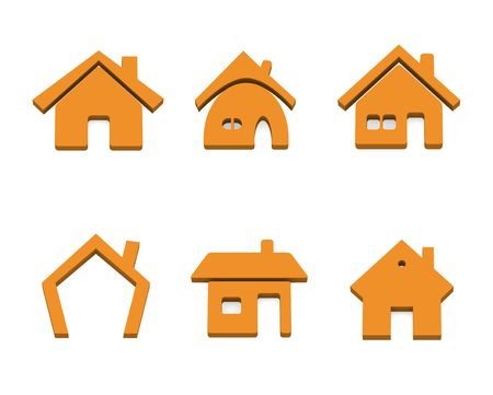 home group: Set of 6 house 3d rendered icon variations Stock Photo