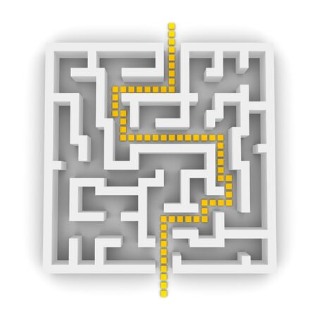 Path through labyrinth. 3d rendered image. Stock Photo - 3736441