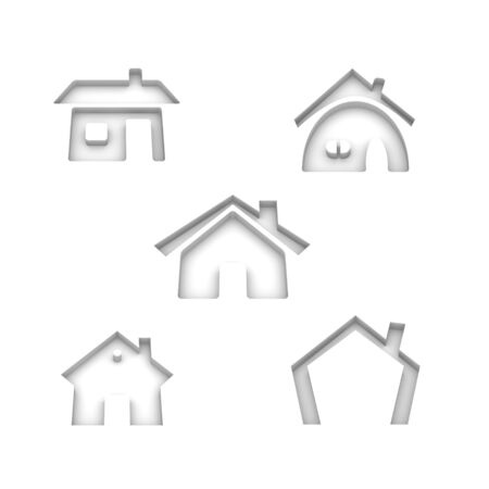 Set of 5 house 3d rendered icon variations Stock Photo - 3736432