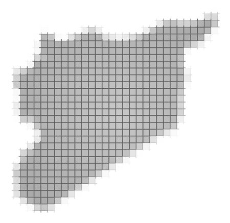 recolor: Syria map pixels mosaic. Easy to recolor.