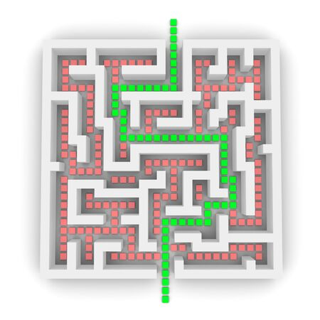 Path through labyrinth. 3d rendered image. Stock Photo