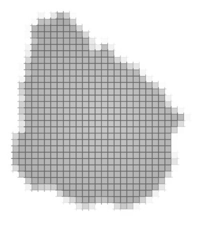 recolor: Uruguay map pixels mosaic. Easy to recolor.