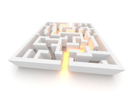 way out: Path through labyrinth. 3d rendered image. Stock Photo