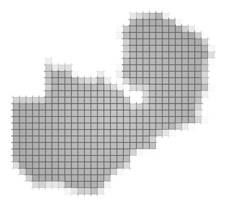 2d map: Zambia map pixels mosaic. Easy to recolor.