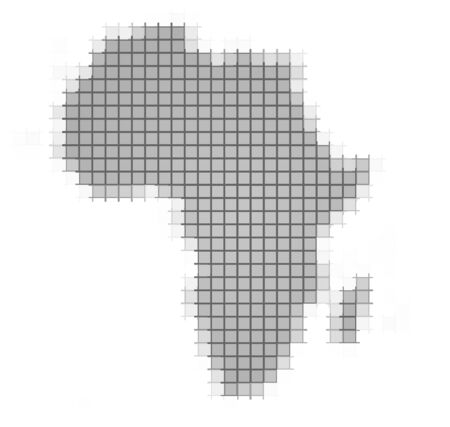 2d map: Africa map pixels mosaic. Easy to recolor.