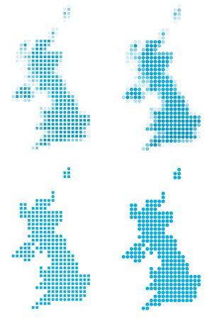 United Kingdom map mosaic set. Isolated on white background. photo