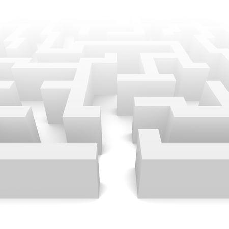 warren: Labyrinth in fog illustration. 3d rendered image.