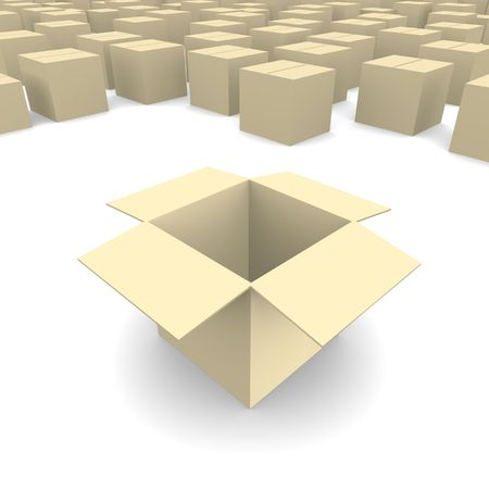 Empty cardboard box 3d rendered image photo