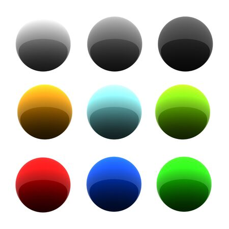 Set of glossy balls in nine different colors. 3d rendered image. photo