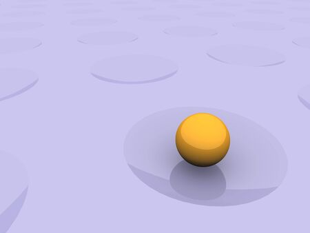 crater: Ball in crater. Abstract 3d rendered background.