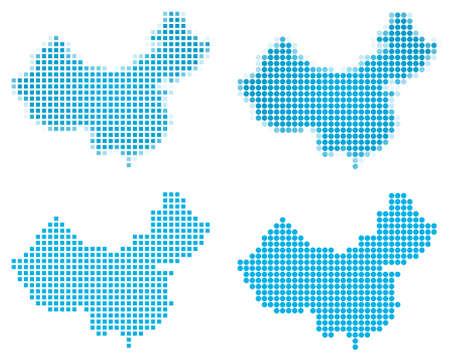 China map mosaic set. Isolated on white background. photo