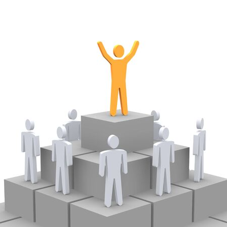 terraced: Celebrating person at the top of pyramid. 3d rendered image.