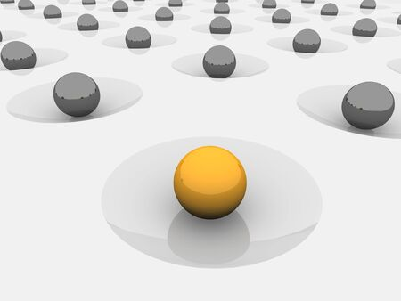 dint: Balls in craters. Abstract 3d rendered background.