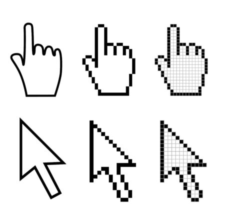 Set of hand and arrow mouse cursors Stock Photo