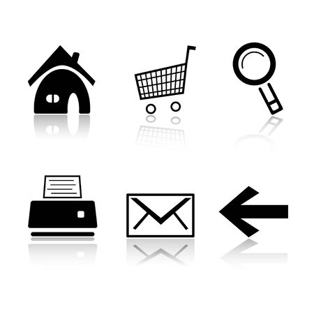 printer drawing: Set of 6 black and white icons. Home, cart, search  magnifier, printer, envelope, arrow. Stock Photo