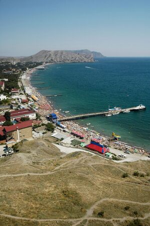 Beach in sudak. Black sea coast, Crimea, Ukraine Stock Photo - 3910110
