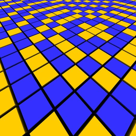cuboid: Blue and orange mosaic abstract background. 3d rendered image.
