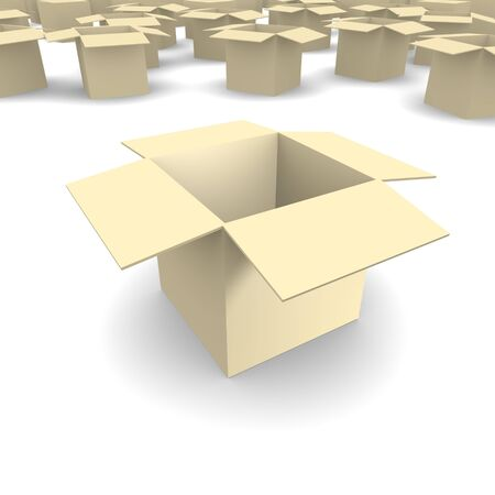 boxboard: Empty cardboard box 3d rendered image