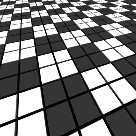 cuboid: Black and white mosaic abstract background.  3d rendered image. Stock Photo