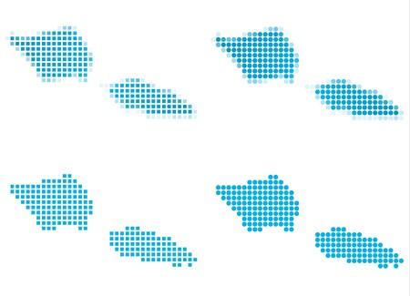 samoa: Samoa map mosaic set. Isolated on white background.