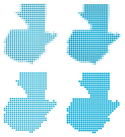 2d map: Guatemala map mosaic set. Isolated on white background.