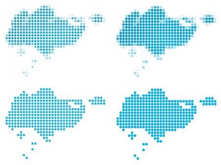 singapore: Singapore map mosaic set. Isolated on white background.