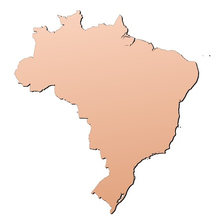 shading: Brazil map filled with brown gradient. Mercator projection.