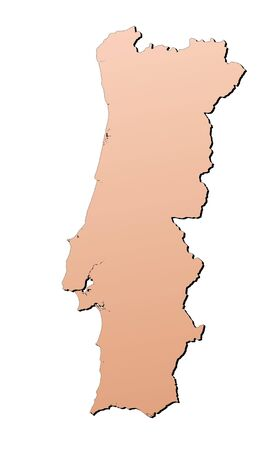 shading: Portugal map filled with brown gradient. Mercator projection. Stock Photo