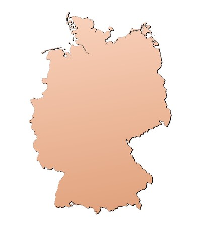 shading: Germany map filled with brown gradient. Mercator projection.
