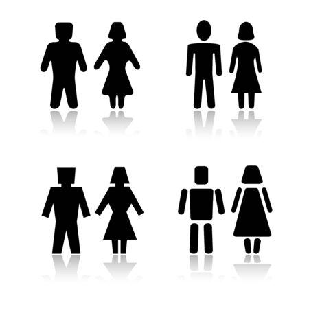 man vrouw symbool: Set van 4 man en vrouw symbool varianten  Stockfoto