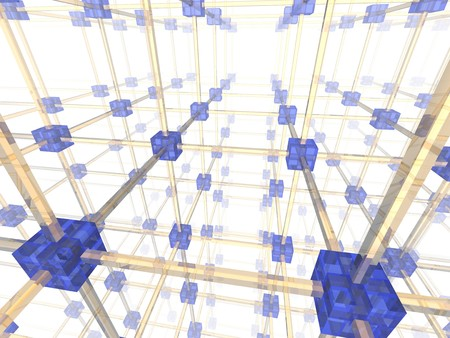 Network of connected blue nodes. 3d illustration. illustration