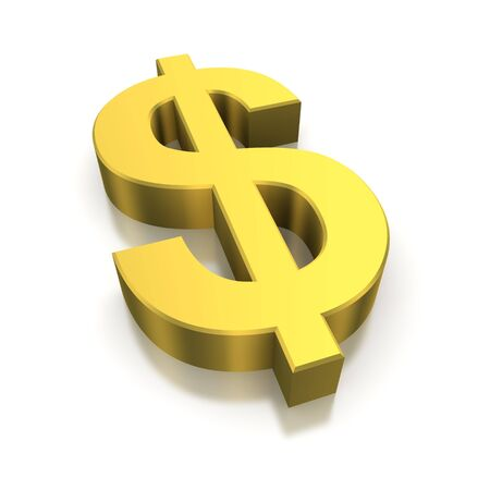 Golden dollar currency symbol. 3d rendered image photo
