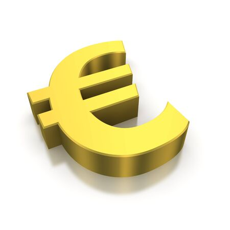 Golden euro currency symbol. 3d rendered image photo
