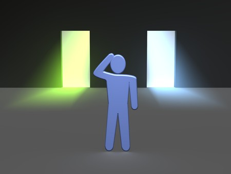 which: Man thinking which entrance to choose. 3d rendered illustration.