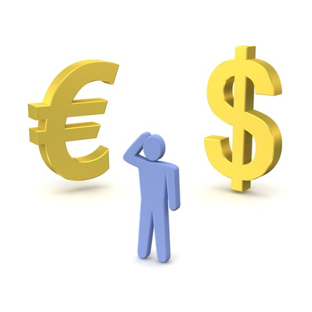 contemplating: Golden dollar, euro and thinking person. 3d rendered illustration.