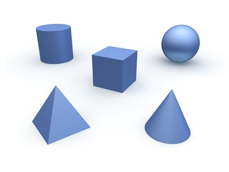 3D-basis objecten. Bol, kubus, kegel, cilinder en piramide.